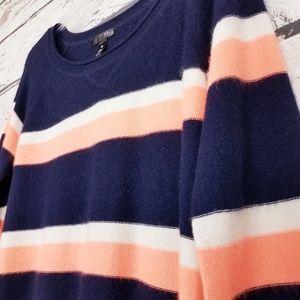 Aqua Cashmere blue orange white stripes sweater S